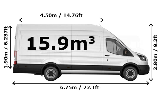 Extra Large Van and Man Hire London - Dimension Side View