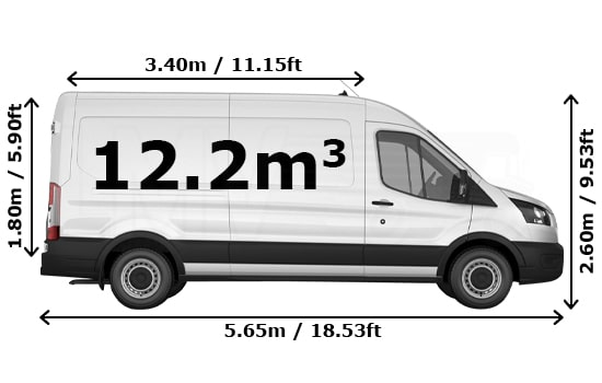Large Van and Man Hire London - Dimension Side View