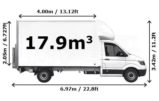 Luton Van and Man Hire London - Dimension Side View