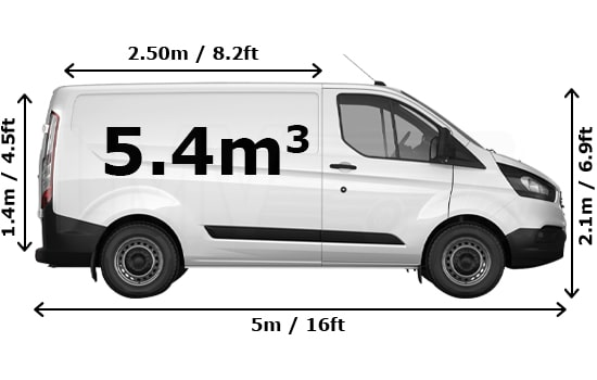Medium Van and Man Hire London - Dimension Side View