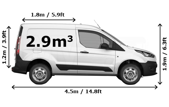 Small Van and Man Hire London - Dimension Side View